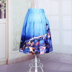 Women's Print Pleated Loose Knee Length Skirt