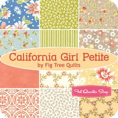 California Girl Petite by Fig Tree Quilts Tree Quilt, Fig Tree, Fabulous Fabrics, Fat Quarters, Patch, Fabric Patterns, Lust, Sisters, Quilting