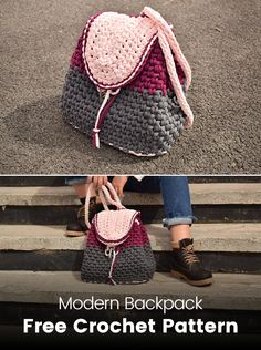 Modern Backpack Free Crochet Pattern #crochet #crafts #homemade #handmade #bag