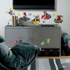 Roommates Nintendo Mario Kart Peel And Stick Wall Decals, 34 Count -- Find out more about the great product at the image link. (This is an affiliate link) Nintendo Mario Kart, Mario Yoshi, Mario Luigi, Wall Decor Stickers, Wall Decals, Super Mario Galaxy, Super Mario Bros, Stickers Papillon, Party