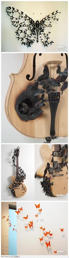 butterfly craft diy ideas. Pretty sure I could never do that to a guitar or a viola. But it's beautiful! But it kinda reminds me of the movie mama xD