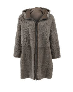 Brunello Cucinelli Leather Shearling Coat