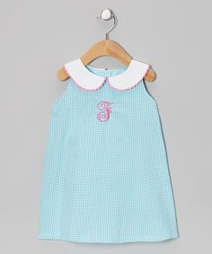 Take a look at this Turquoise Gingham Initial A-Line Dress - Infant, Toddler & Girls by Emily Lacey on #zulily today!