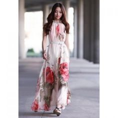 Bohemian Style Halter Neck Large Floral Print Chiffon Maxi Dress For Women