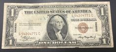 Silver Certificate one dollar  1935A Hawaii Brown WWII has Korea Aug. 6, 46 written in blue ink on back  Brown Seal Paper Money U.S. by IroquoisCopper on Etsy