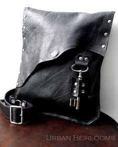 Black leather #steampunk #rocker #biker bag by UrbanHeirlooms, via Flickr