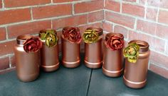 Wedding Centerpiece / Copper Wedding by CarolesWeddingWhimsy, $49.99, set of 9, 6 Metallic Copper Fall Vases trimmed with Fall Silk Flowers and 3 Metallic Copper Votive Candle Holders....Fabulous.  Check it out here https://www.etsy.com/listing/191735227/wedding-centerpiece-copper-wedding