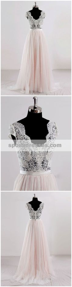 Cap Sleeves V Neck See Through A-line Cheap Wedding Dresses Online