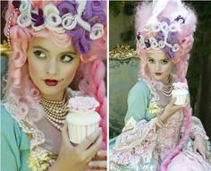 A divine pastel wig fit for a queen with the addition of cupcakes make this photo Marie Antoinette Cupcake Themed Photoshoot a true inspiration!