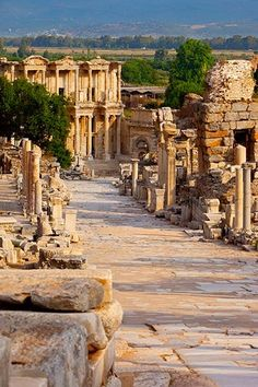 Marble paved street of Curetes in ancient town of Ephesus, Turkey