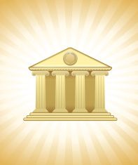 Golden bank on royalty free vector Background with glow effect vector art illustration