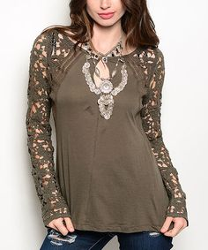 Another great find on #zulily! Olive Lace-Sleeve Split-Back Top #zulilyfinds