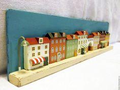 """Купить панно """"Уличная история"""" - комбинированный, панно, панно на стену, подарок, подарок девушке"""