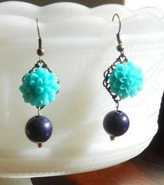 Turquoise Chrysanthemum and Navy Earrings   by AdornmentsbyWendi, $12.00