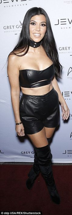 Kourtney Kardashian wears black veggie leather strapless bralette and matching shorts with thigh high black boots. Scott Disick And Kourtney, Kourtney Kardashion, Strapless Bralette, Cool Outfits, Fashion Outfits, Leather Fashion, Celebrity Style, Celebs, Leather