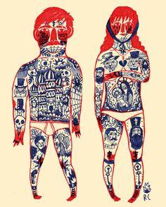 by Ricardo Cavolo Coffee Illustration, Illustration Art, 1 Tattoo, Art Brut, Christmas Drawing, Adam And Eve, Outsider Art, New Art, Cool Art
