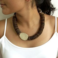 Silver Geometric Beads and Coconut Asymmetrical Necklace