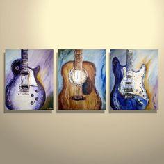 Original Modern Abstract Guitar Fender by ArtAbstractPaintings,