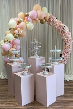 Dessert Tables Beautiful floral balloon hoop styled by pairs so nicel Wedding Shower Decorations, Quinceanera Decorations, Balloon Decorations Party, Balloon Centerpieces, Balloon Garland, Baby Shower Centerpieces, Birthday Party Decorations, Birthday Parties, Bling Centerpiece