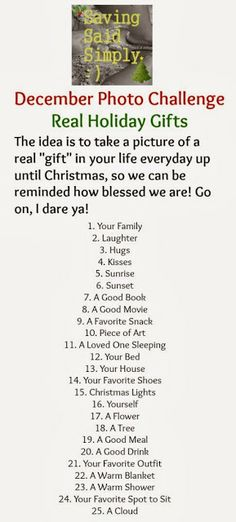 December Photo Challenge - Real Holiday Gifts