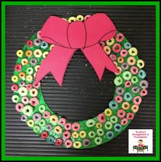 Fruit Loop wreath!   Great Christmas art project!
