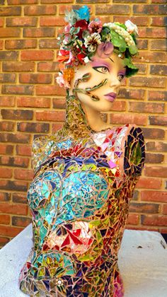 Diana Mosaic Mannequin by kristenmbauer on Etsy  Mannequin Madness sells used and distressed mannequins and mannequin parts to artists to have a canvas to create projects like this.
