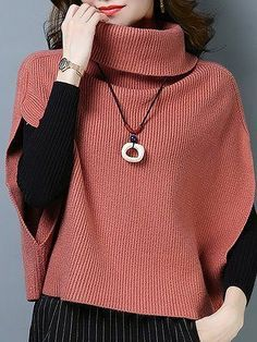 Batwing Casual Turtleneck Knitted Sweaters - Outfits for Work Trendy Outfits, Fashion Outfits, Fashion Clothes, Vogue Knitting, Cardigan Outfits, Sweater Shop, Sweater Design, Knitting Patterns, Knitting Ideas