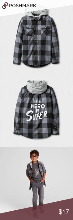 New CAT & JACK Gray Check Plaid Button Down Shirt size XS (4/5) new without tags color: charcoal gray  hooded This Hero is super written on back  More kid's clothes in my posh closet @cjrose25. Bundle your likes for a discount & save on shipping!! Cat & Jack Shirts & Tops Button Down Shirts