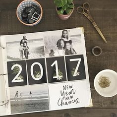 My 2017 #projectlife title page. I've decided to switch back to a 12x12 album - mainly because it just feels right to me, and also because I have all the supplies in my stash. Included my favorite pictures of the girls in black and white, and a photo that my husband captured of me and the girls on the beach. I designed the '2017' cards myself - and bottom right card is @lifelovepaper in this month's @studio_calico kit. Excited about documenting all of our new stories this year…
