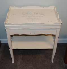 White Rectangular Stand with a Fench Flair by CountryChicSisters on Etsy Country Chic, Vanity Bench, Repurposed, Upcycle, Cycling, Sisters, French, Boutique, Etsy