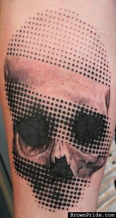 Calavera Halftone Tattoo -I'm a huge fan of this technique.