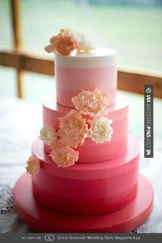 So neat! - Fondant fuchsia ombre with cascading sugar flowers.   CHECK OUT MORE GREAT PINK WEDDING IDEAS AT WEDDINGPINS.NET   #weddings #wedding #pink #pinkwedding #thecolorpink #events #forweddings #ilovepink #purple #fire #bright #hot #love #romance #valentines #pinky