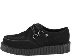 """The Original T.U.K. Creepers with Classic Low Man Made Composition Sole. Black Suede, with Black Woven Interlace, and Silver Metal D-Rings.  The """"Low-Round"""" Creeper has a 1 1/2 inch Sole."""