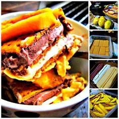 ice cream cake: layers of mango, butter vanilla, chocolate