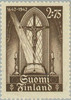 The First Finnish Bible on the Altar Finnish Language, Postage Stamps, Altar, Bible, Gallery, Postcards, Prints, Magazine, Gray