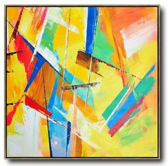 Large Abstract painting canvas art, hand painted oversized Palette Knife Painting Contemporary Art, large square canvas art. Yellow, red, green, pink, orange, etc.