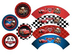 Disney CARS Cupcake Toppers And Wrappers - Cars Favor Tags - Cars Party Favors - Cars Printable Toppers - The Print Shoppe. $3.00, via Etsy.