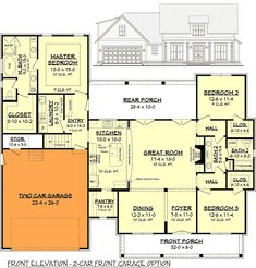 Budget Friendly Modern Farmhouse Plan with Bonus Room - floor plan - Front Garage Option Best House Plans, Country House Plans, Dream House Plans, The Plan, How To Plan, Farmhouse Floor Plans, Kitchen Floor Plans, Kitchen Flooring, Modern Farmhouse Bathroom