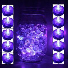 Set of 10 Purple Submersible Bright LED Tea Light Wedding Home Decoration Free Glow Stick Jars, Glow Sticks, Glow Jars, Quince Decorations, Wedding Reception Decorations, Wedding Ideas, Purple Party Decorations, Glow Stick Wedding, Light Wedding