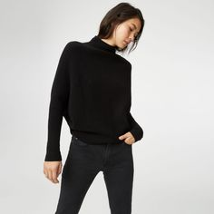 Well-slouched. With a ribbed knit and modest batwing sleeve that give cashmere a relaxed update. Cashmere Relaxed fit 25' in length from high point of shoulder Roll-neck; batwing sleeves Dry clean Imported