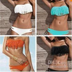 Padded boho fringe top strapless dolly bikini Free shipping $12.57