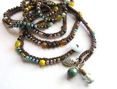 Crochet wrap bracelet / necklace beaded sun and by CoffyCrochet, $36.00