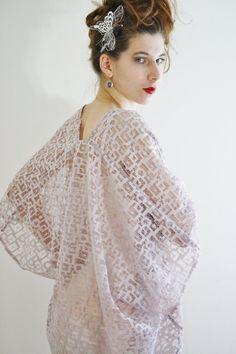 Lace bridal kimono cardigan Sheer bridal by WildRoseAndSparrow