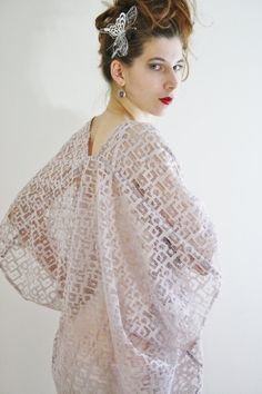 Lace bridal kimono cardigan Sheer bridal by WildRoseAndSparrow