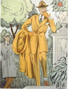 Dandy in a park, 1922 Dandy, Mode Vintage, Vintage Men, Fashion Illustration Vintage, Fashion Illustrations, Vintage Illustrations, Vintage Outfits, Vintage Fashion, Art Deco