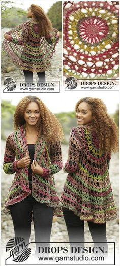 Nordic Mart - DROPS design one-stop source for Garnstudio yarns, free crocheting and knitting patterns, crochet hooks, buttons, knitting needles and notions. Gilet Crochet, Crochet Coat, Crochet Fall, Crochet Cardigan, Crochet Clothes, Crochet Sweaters, Crochet Shrugs, Crochet Vests, Crochet Hooks