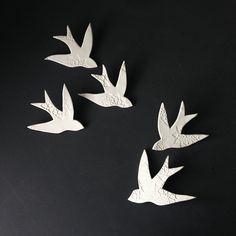 wall art swallows over morocco white porcelain bird wall sculpture modern ceramic art for home decor wall decor set of 5 ready to ship - Bird Wall Decor