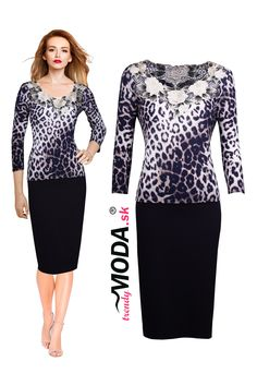 Elegantné čierno – hnedé tigrované dámske úpletové šaty s výstrihom zdobeným vyrezávanou výšivkou Dresses For Work, Fashion, Tunic, Moda, Fashion Styles, Fashion Illustrations