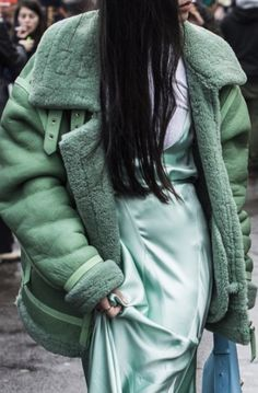 Textural shades of mint green - shearling & silk slip dress