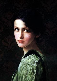 Vittorio Matteo Corcos 1859-1933 | Italy (She was young and dark and very lovely...Her hair hung loosely over her shoulders....)